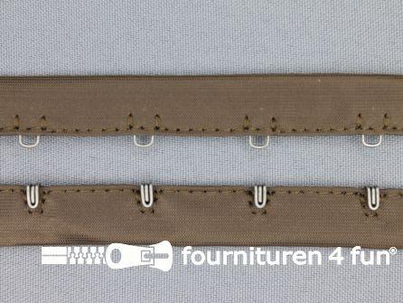 Haken- en ogen band 14mm bruin