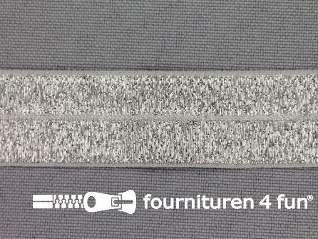 Elastische lurex biasband 20mm zilver