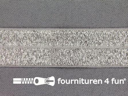 Rol 25 meter elastische lurex biasband 20mm zilver