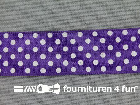 Elastische biasband 20mm stippen paars