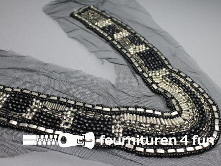 Opzet stuk voor hals / kraag zilver - zwart 250x220mm
