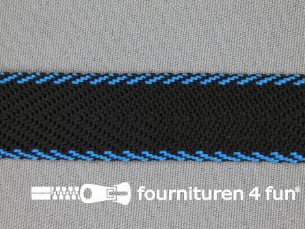 Gestreept tassenband 20mm zwart - blauw