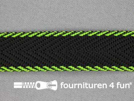 Gestreept tassenband 20mm zwart - groen