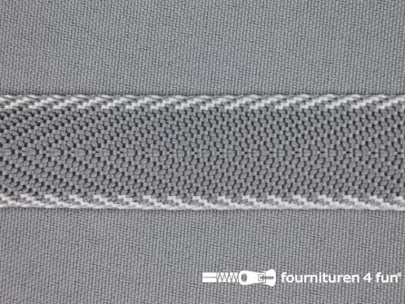 Gestreept tassenband 20mm grijs - wit