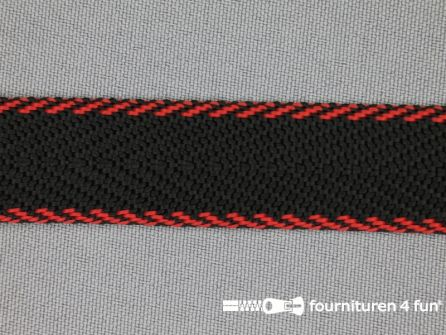 Gestreept tassenband 20mm zwart - rood