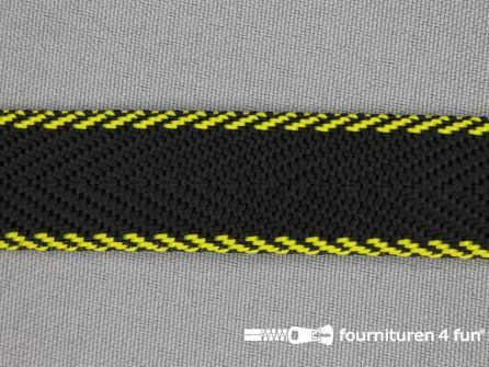 Gestreept tassenband 20mm zwart - geel