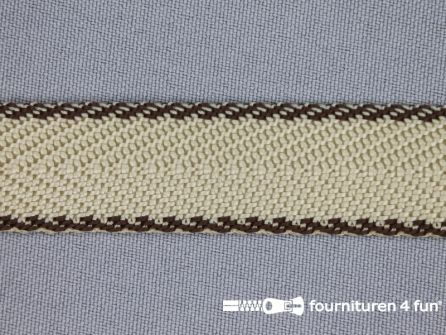 Gestreept tassenband 20mm beige - bruin