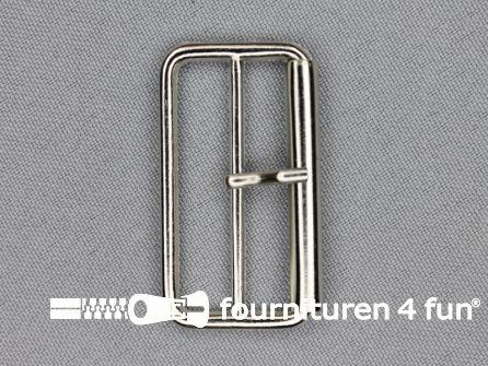 Metalen rolgesp 40mm zilver dubbel smal