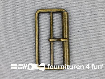 Metalen rolgesp 40mm brons dubbel smal
