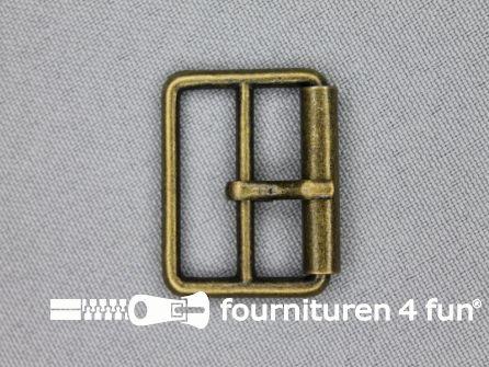 Metalen rolgesp 25mm brons dubbel smal