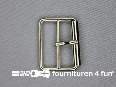 Metalen rolgesp 25mm zilver dubbel smal