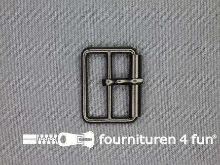 Metalen rolgesp 20mm zwart zilver dubbel smal