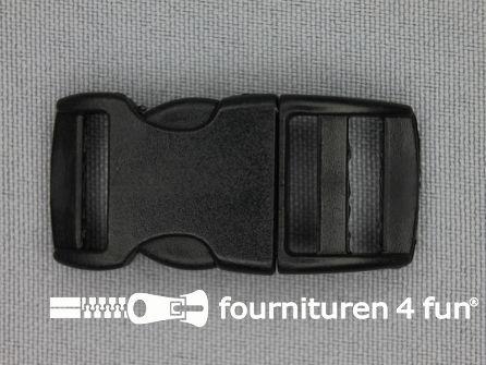 Gebogen parachute gesp budget 15mm zwart - kunststof