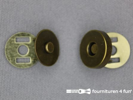 Magneet knopen 14mm buig brons per stuk