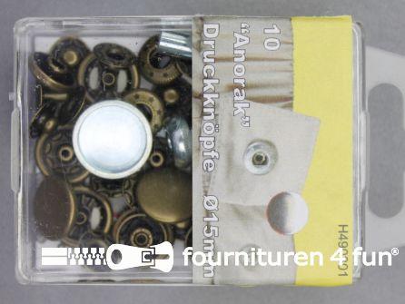 Drukknopen 15mm geel brons 10 stuks
