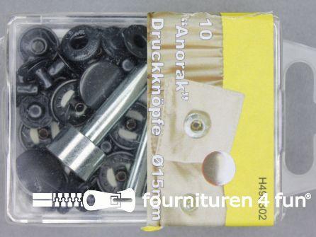 Drukknopen 15mm zwart brons 10 stuks