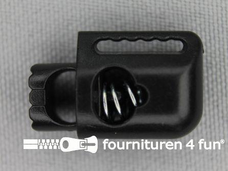 Koord stopper 21mm cilinder zwart - met extra band doorvoer
