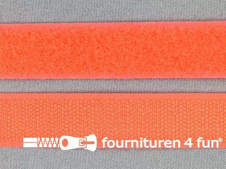 Rol 25 meter klittenband 20mm neon oranje