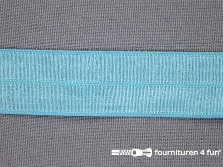 Rol 25 meter elastische biasband 20mm aqua mint blauw