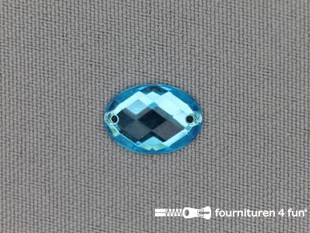 10 stuks Strass stenen ovaal 10x14mm aqua blauw