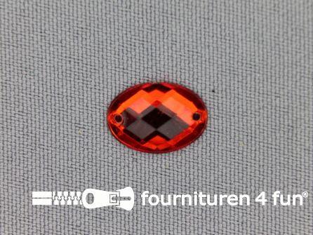 10 stuks Strass stenen ovaal 10x14mm rood