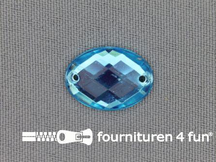 10 stuks Strass stenen ovaal 18x13mm aqua blauw