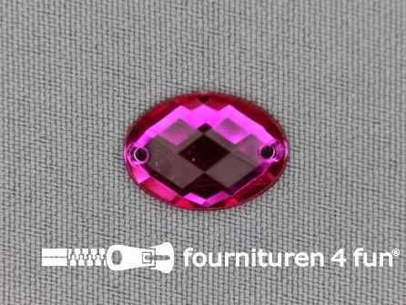 10 stuks Strass stenen ovaal 18x13mm fuchsia roze
