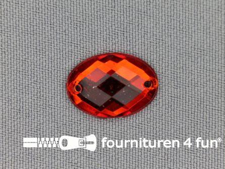 10 stuks Strass stenen ovaal 18x13mm rood
