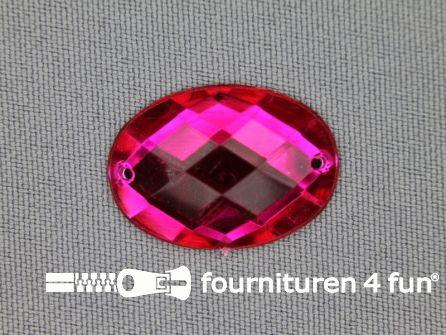 10 stuks Strass stenen ovaal 25x18mm fuchsia roze