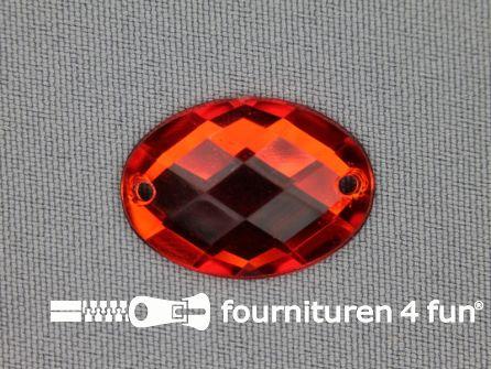 10 stuks Strass stenen ovaal 25x18mm rood