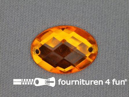 10 stuks Strass stenen ovaal 25x18mm goud geel