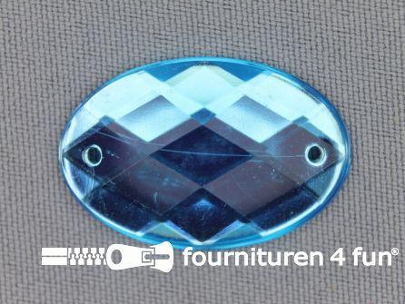 5 stuks Strass stenen ovaal 30x20mm aqua blauw