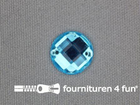 10 stuks Strass stenen rond 14mm aqua blauw