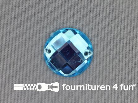 10 stuks Strass stenen rond 20mm aqua blauw