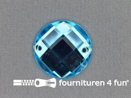 10 stuks Strass stenen rond 25mm aqua blauw