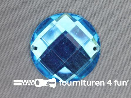 5 stuks Strass stenen rond 30mm aqua blauw