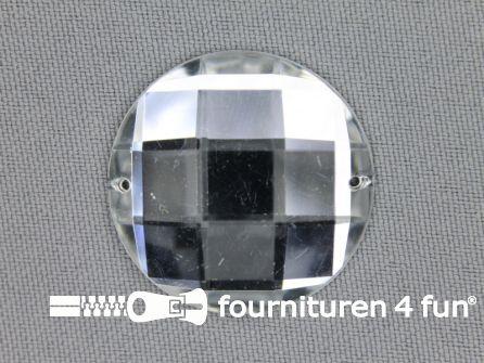 5 stuks Strass stenen rond 30mm zilver