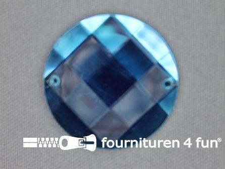 5 stuks Strass stenen rond 35mm aqua blauw