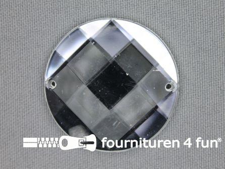 5 stuks Strass stenen rond 35mm zilver
