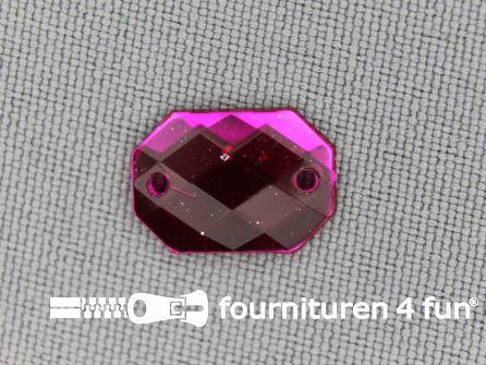 10 stuks Strass stenen rechthoek 14x10mm fuchsia roze