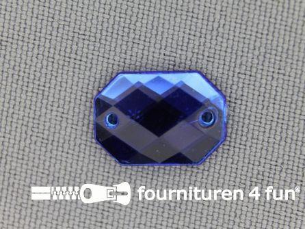 10 stuks Strass stenen rechthoek 14x10mm kobalt blauw