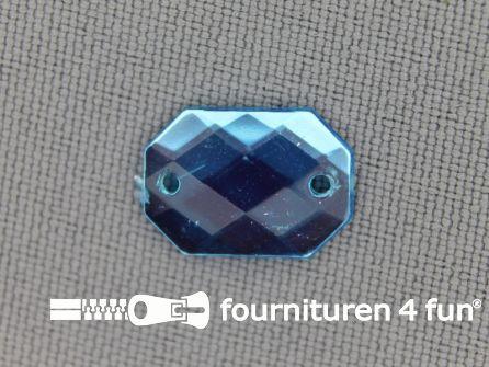 10 stuks Strass stenen rechthoek 14x10mm aqua blauw