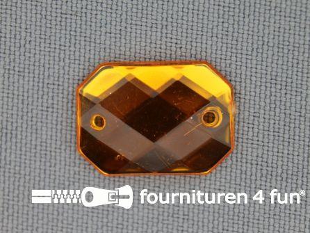 10 stuks Strass stenen rechthoek 18x13mm goud geel
