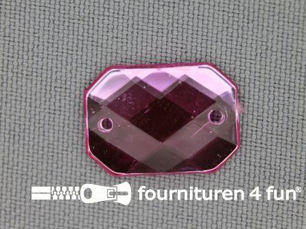 10 stuks Strass stenen rechthoek 18x13mm licht roze