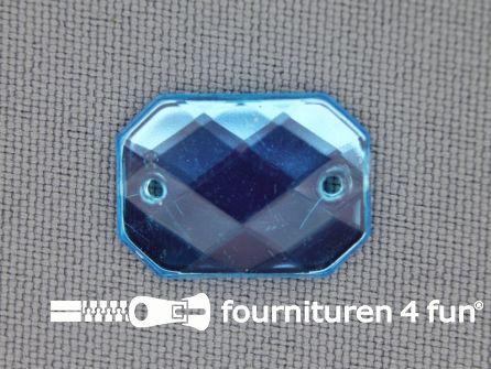 10 stuks Strass stenen rechthoek 18x13mm aqua blauw