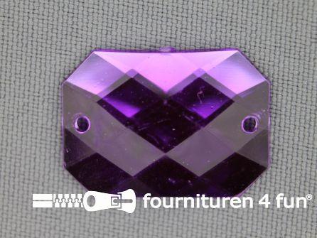 5 stuks Strass stenen rechthoek 25x18mm paars