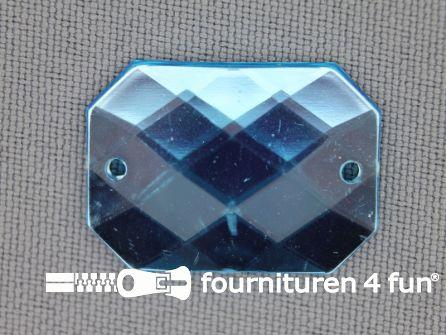 5 stuks Strass stenen rechthoek 25x18mm aqua blauw