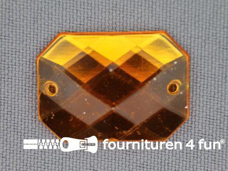 5 stuks Strass stenen rechthoek 25x18mm goud geel
