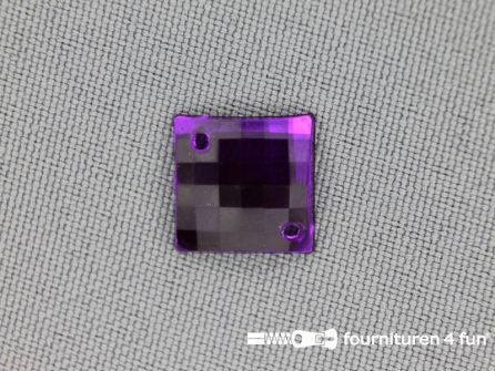 10 stuks Strass stenen vierkant 12mm paars