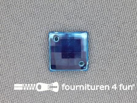 10 stuks Strass stenen vierkant 12mm aqua blauw